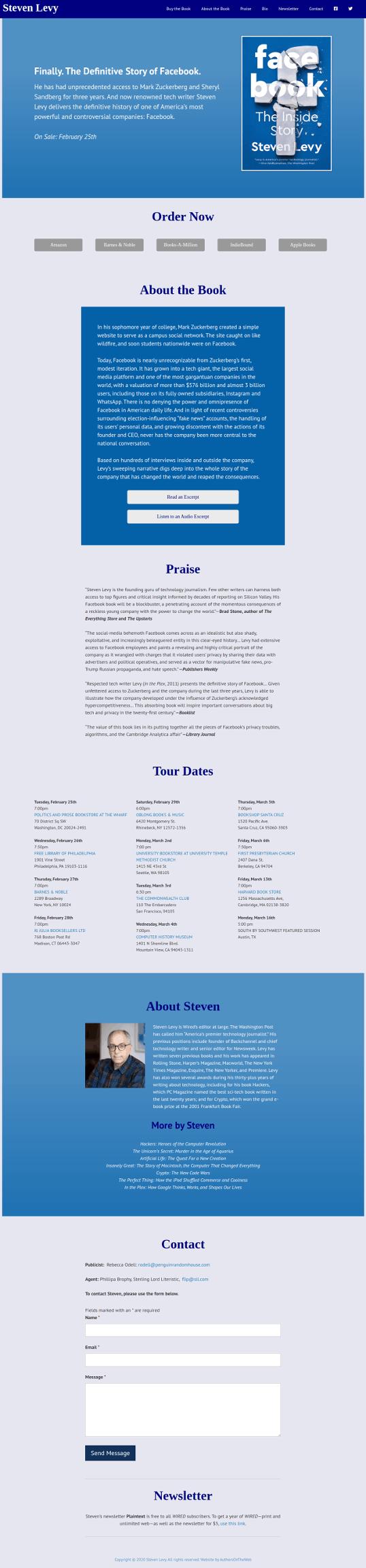 StevenLevy.com Full Screenshot